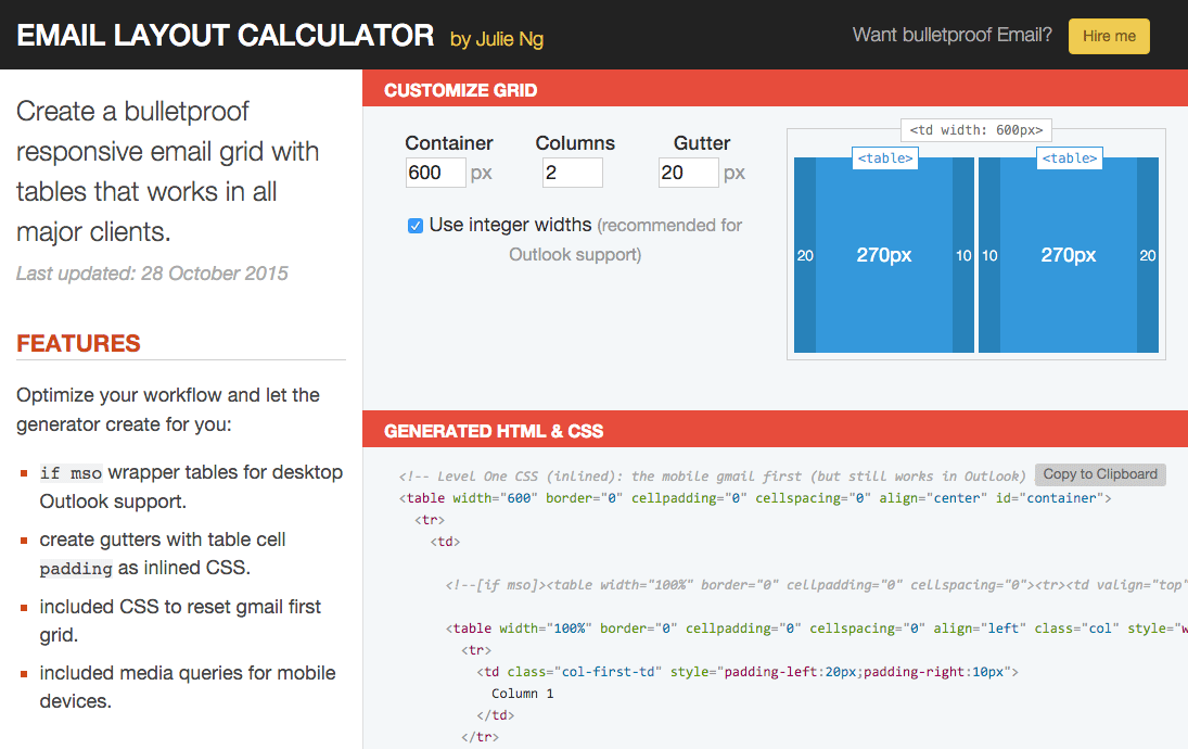 Email Layout Calculator